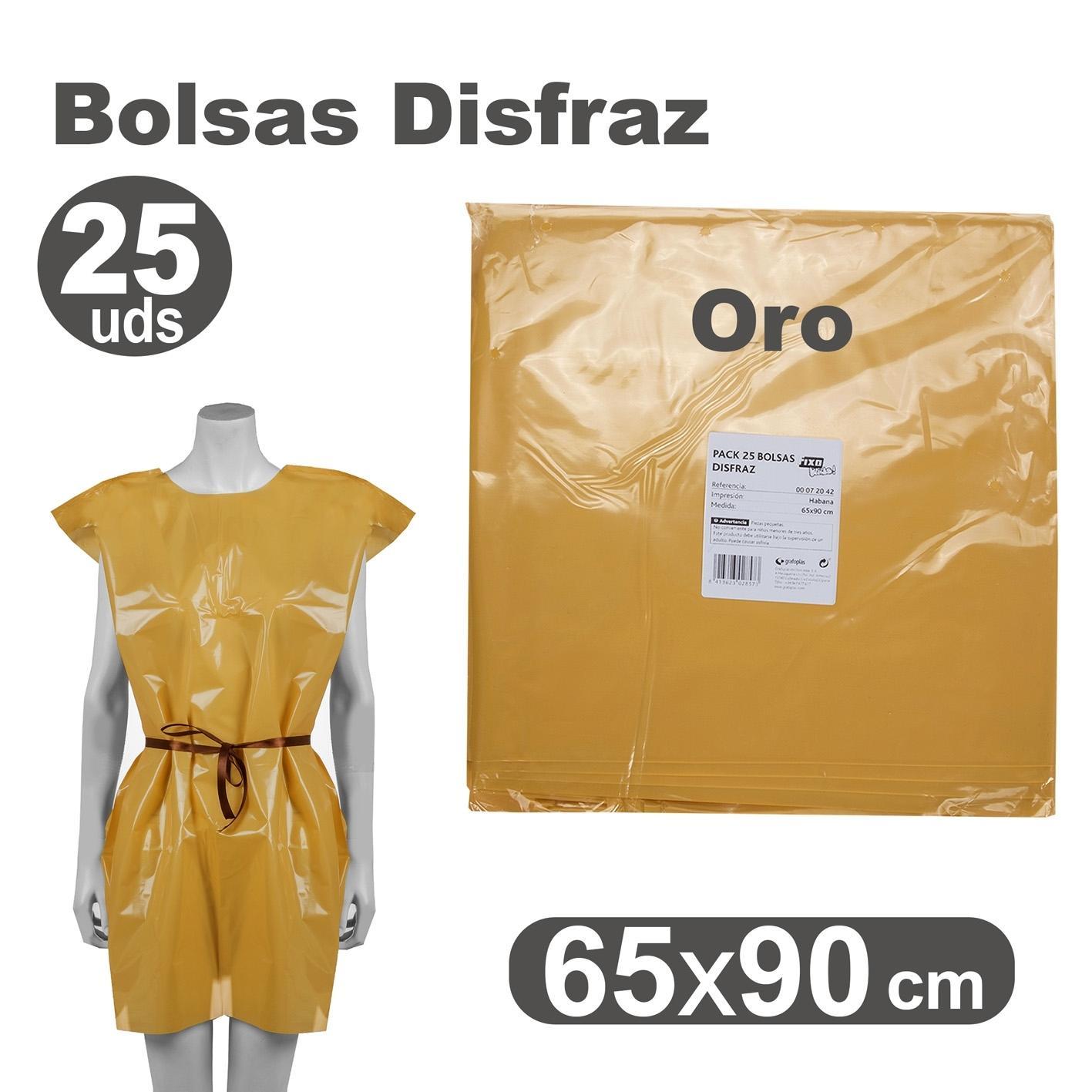 PACK 25 BOLSAS DISFRACES 65X90CM ORO