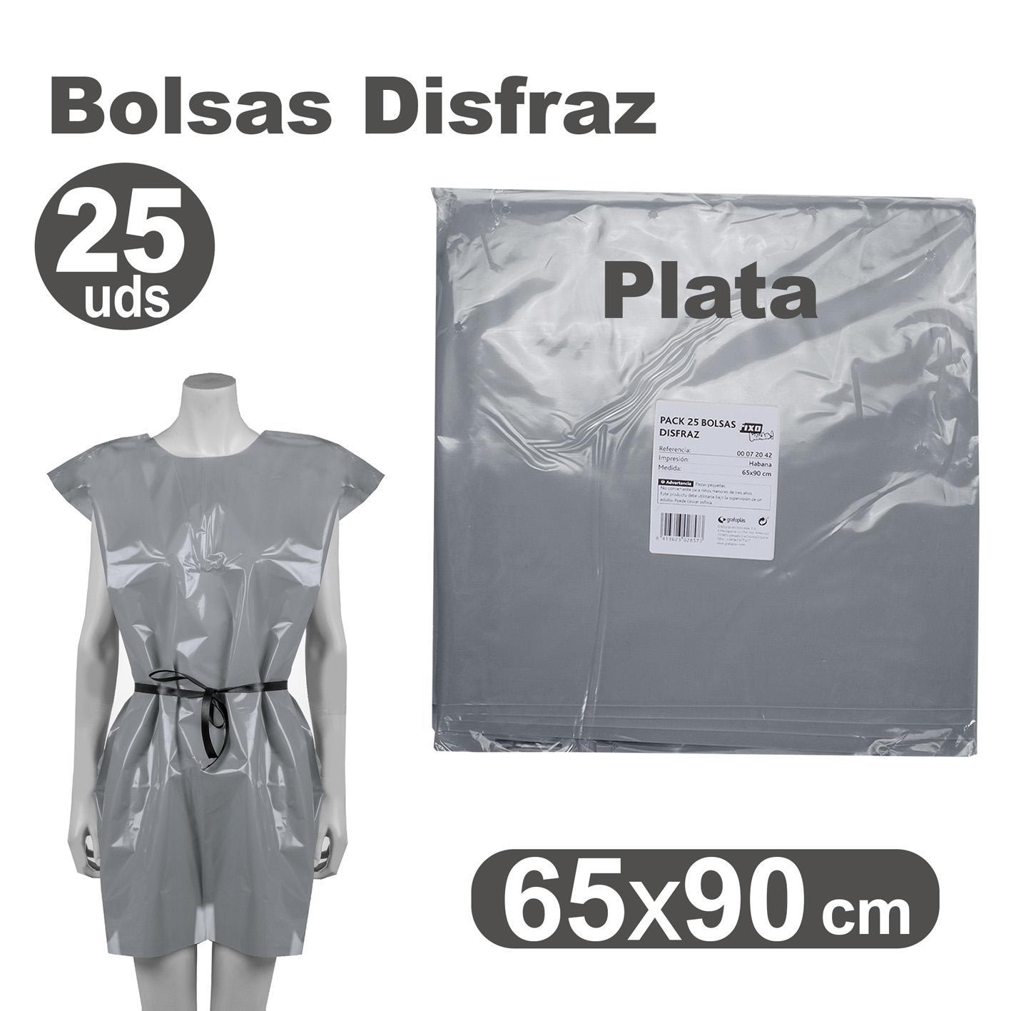 PACK 25 BOLSAS DISFRACES 65X90CM PLATA
