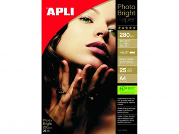 PAPEL APLI PHOTO BRIGHT PRO A4 280GR 60 HOJAS REF.10413