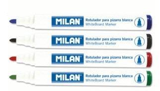 ROTULADOR MILAN PIZARRA BLANCA PUNTA REDONDA  NEGRO - 12 UNIDADES