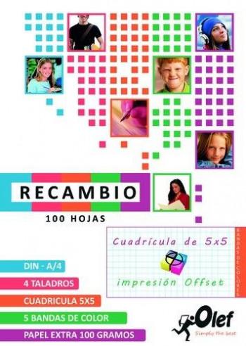 RECAMBIO OLEF 5 COLORES 100 HOJAS 100 GR