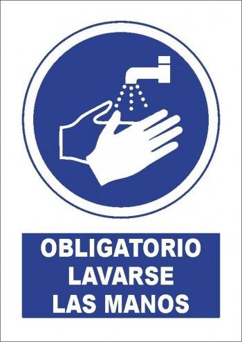 """VINILO ADHESIVO A4 \"""" OBLIGATORIO LAVARSE LAS MANOS\"""""""