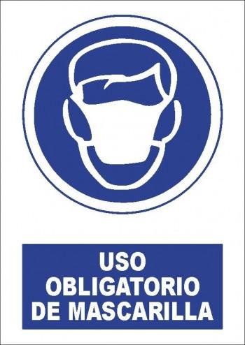 """VINILO ADHESIVO A4 \""""USO OBLIGATORIO DE MASCARILLA\"""""""