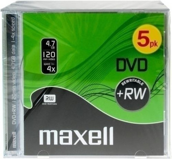 DVD+RW MAXELL 4,7GB 2X REGRABABLE PACK DE 5