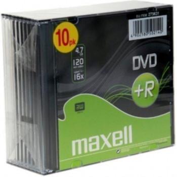 DVD-R MAXELL 4,7 GB 16X SLIM CASE PACK 10 UD.