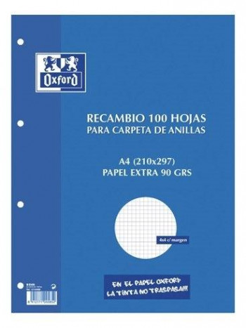 RECAMBIO OXFORD A4 CARPETA ANILLAS 100H 90 GR