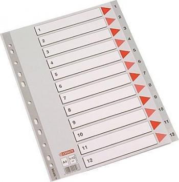SEPARADORES PVC ESSELTE A4 1-12 POSICIONES GRIS
