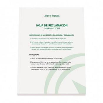 LIBRO HOJA DE RECLAMACIONES JUNTA DE ANDALUCÍA 2019