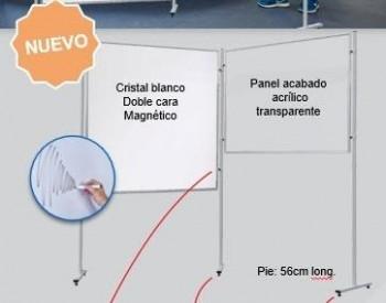 PIZARRA DOBLE CARA CRISTAL BLANCO MAGNETICO ( INCLUYE UN SOLO PIE )