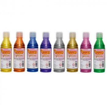 TEMPERA JOVI GLITTER BOTELLA 250 ML COLORES SURTIDOS