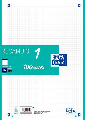 RECAMBIO A4 SCHOOL COLOR 1 100 HOJAS CUADRÍCULA 5X5 90GR