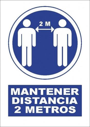 VINILO ADHESIVO A4 \cMANTENER DISTANCIA DE SEGURIDAD\c