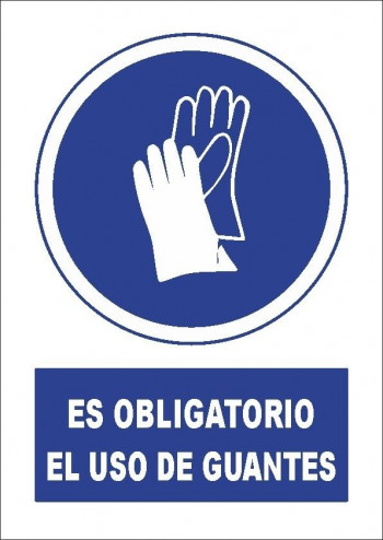 VINILO ADHESIVO A4 \cUSO OBLIGATORIO DE GUANTES\c