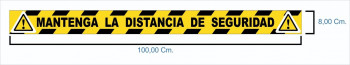CINTA ADHESIVA AMARILLA/NEGRA  MANTENGA DISTANCIA DE SEGURIDAD 100X8CM