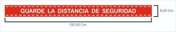 CINTA ADHESIVA ROJA GUARDE DISTANCIA DE SEGURIDAD 100X80