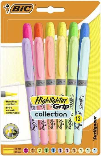 PACK 12 ROTULADORES BIC HIGHLIGHTER FLUOR PASTEL