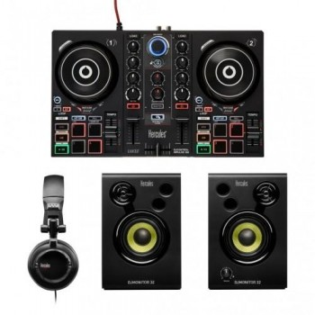 KIT DJ LEARNIG HERCULES - AURICULARES DIADEMA + MESA CONTROLADOR + ALTAVOCES