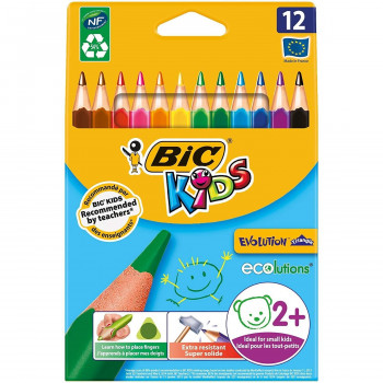 LAPICES COLORES BIC EVOLUTION TRIANGULAR ESTUCHE 12UND