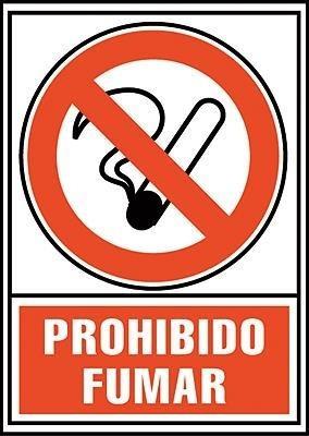 SEÑALIZACION DE PROHIBIDO FUMAR EN PVC ROJO