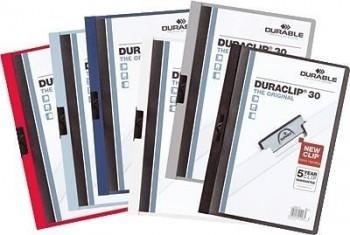 DOSSIER CLIP DURABLE DURACLIP A4 PVC PINZA METALICA 60HOJAS NEGRO 25UND. 2209-01