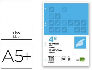 RECAMBIO T/4º LISO 100H. 6 TALADROS LIDERPAPEL REF. RC13