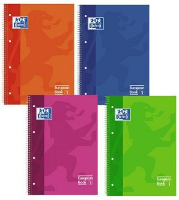 CUADERNO MICROPERFORADO OXFORD A4+ CUADRÍCULA 5X5 COLORES SURTIDOS