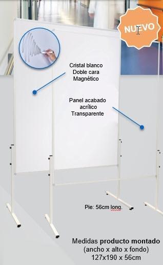 SOPORTE MOVIL DOBLE CARA CRISTAL BLANCO DE 150x120x190cm