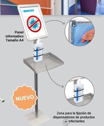 SOPORTE DISPLAY A3 VERTICAL CON BANDEJA PARA  DOSIFICADOR