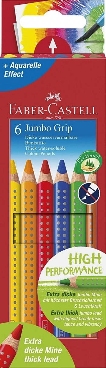 LAPICES ACUARELABLES FABER-CASTELL JUMBO GRIP GRUESOS 6 UND